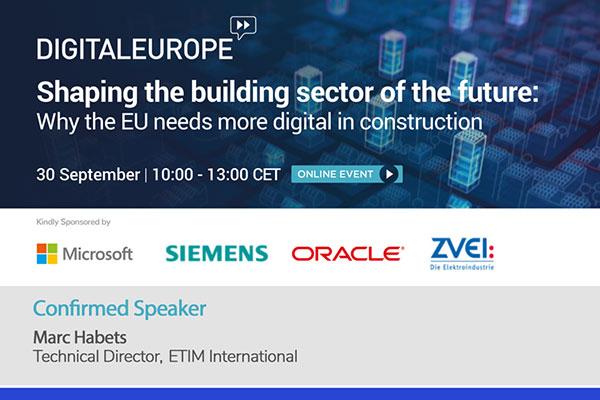 Marc Habets, Technical Director at ETIM International spoke at the Digital Europe conference recently